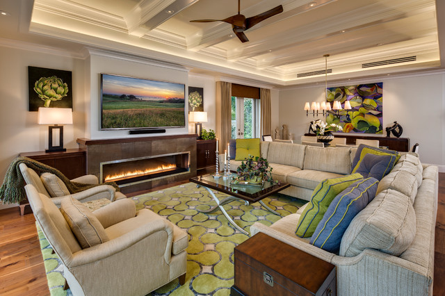 New Home Builders in Dfw Living Room Tropical with Artichoke Prints Beamed Ceiling