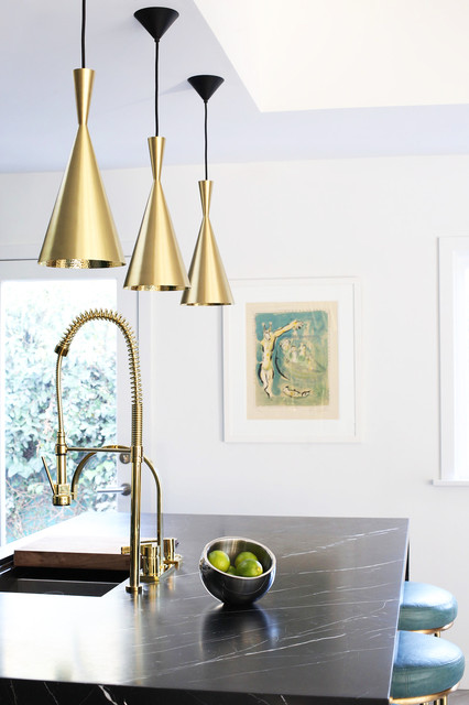 Nutone Fans Kitchen Contemporary with Black Countertop Brass Brass