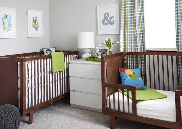 Oeuf Sparrow Crib Nursery Modern with Art Bed Carpet Chest Of