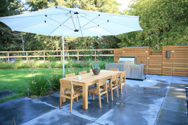 Offset Patio Umbrella Landscape Modern with Bbq Concrete Dining Table