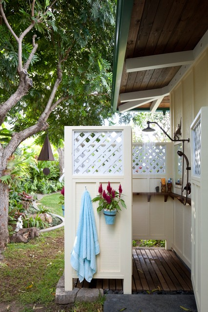Oil Rubbed Bronze Shower Head Patio Tropical with Board and Batten Siding