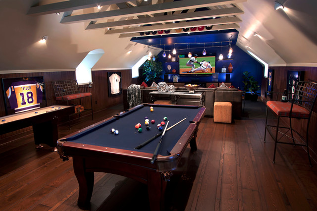 Olhausen Pool Table Family Room Contemporary with Attic Billiards Table Blue