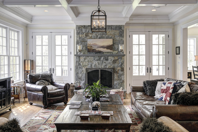 Omnia Hardware Family Room Traditional with Accent Pillows Brown Leather