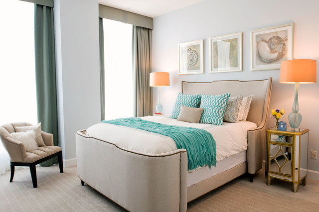 Outdoor Drinking Fountain Bedroom Contemporary with Beach Bedding Blue Cream