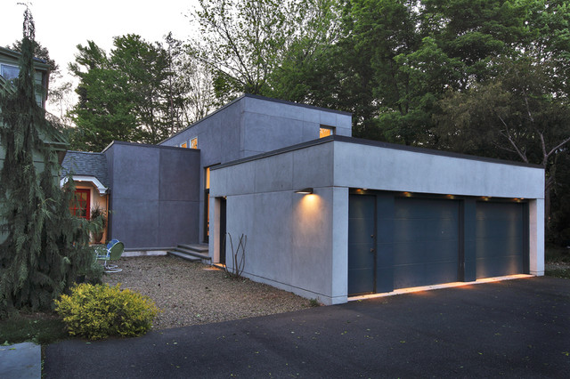 Outdoor Motion Detector Garage and Shed Modern with Brutalist Downlight Entrance Entry