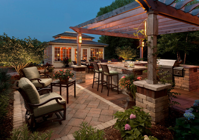 Outdoor Motion Detector Patio Traditional with Brick Column Brick Outdoor