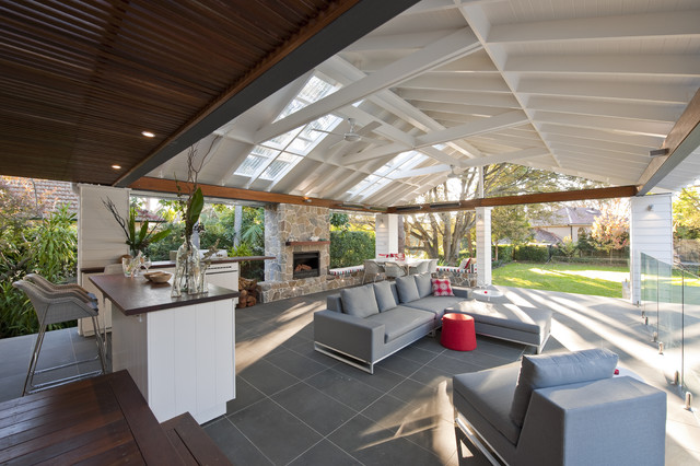 Outdoor Propane Fireplace Patio Contemporary with Ceiling Detail Ceiling Fan