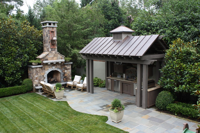 Outdoor Propane Fireplace Patio Traditional with Bluestone Boxwood Container Plants