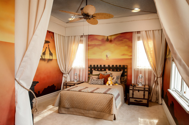 Oversized King Bedding Kids Traditional with African Landscape Mural Beige