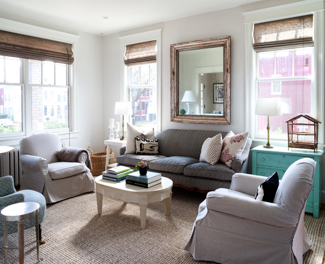 Painters Drop Cloth Living Room Shabby Chic with Armchairs Coffee Table Cottage