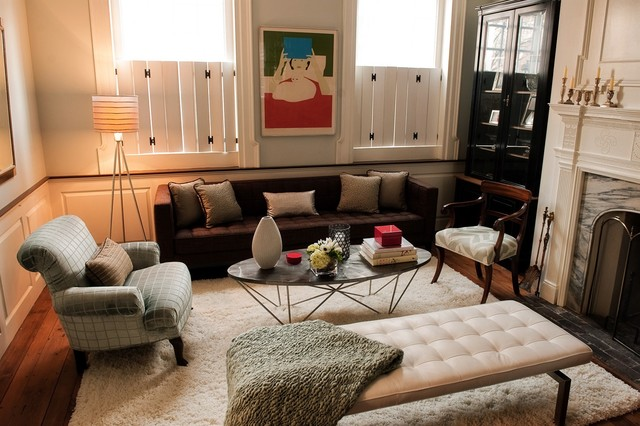 Painting Vinyl Shutters Family Room Eclectic with Area Rug Arm Chair