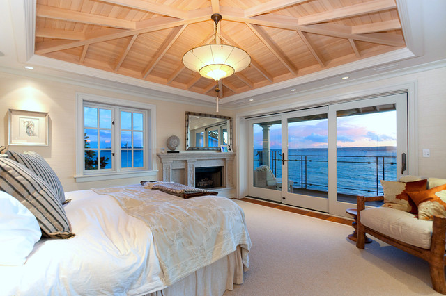 Paper Parasol Bedroom Eclectic with Arm Chair Balcony Beams