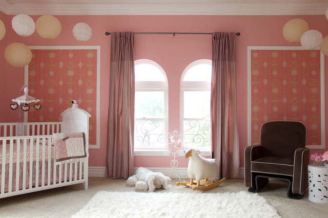 paper parasol Nursery Traditional with arched window armchair baby