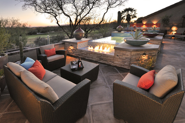 Patio Loveseat Patio Southwestern with Agave Colorful Patio Containers1