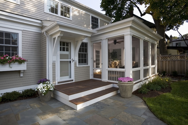 Patio Screen Enclosure Porch Traditional with Container Plants Deck Entrance