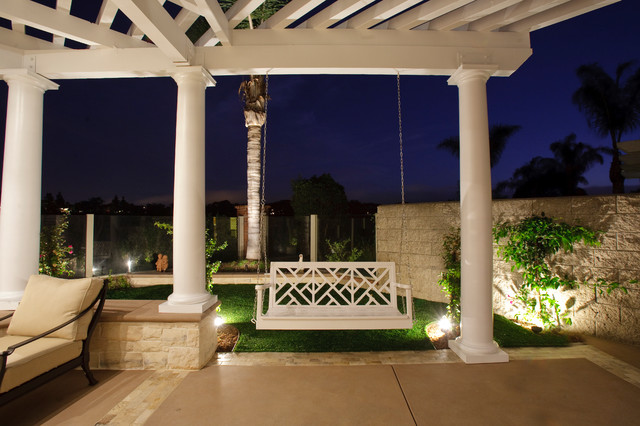 patio swing with canopy Patio Traditional with accent lighting artificial lawn