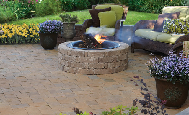 pavestone rumblestone Patio Traditional with firepit indoor-outdoor living Patio