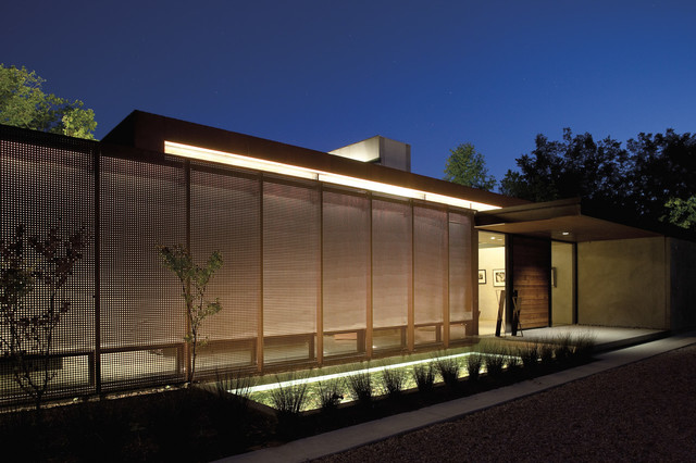 Perforated Sheet Metal Exterior Contemporary with Cantilevered Portico Flat Roof
