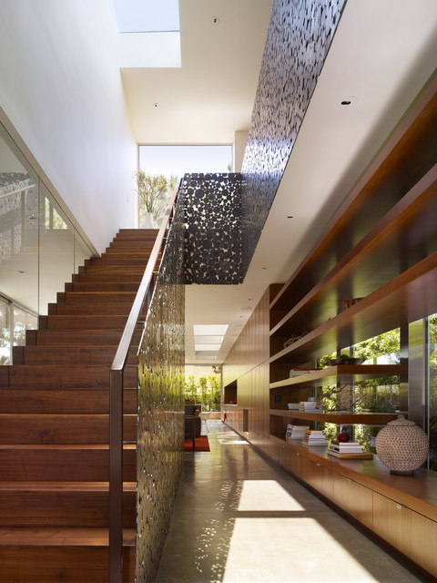Perforated Sheet Metal Staircase Contemporary with Built in Cabinetry Concrete
