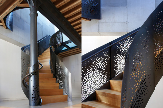Perforated sheet metal Staircase Modern with