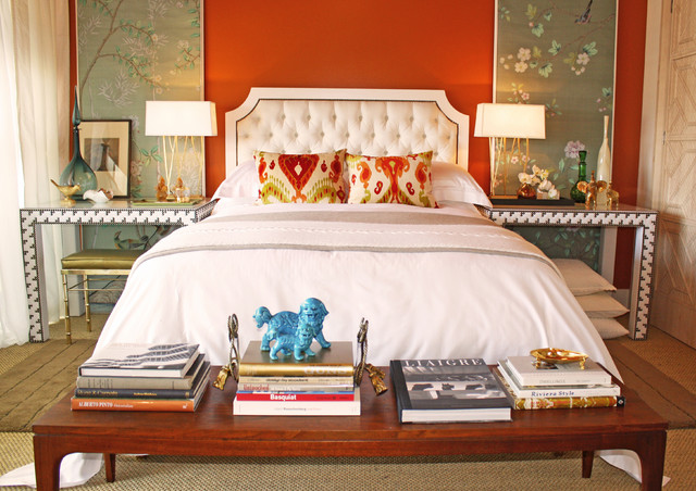 Personalized Decanter Bedroom Eclectic with Accent Wall Artwork Asian