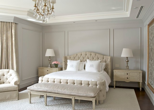 Picture Frame Moulding Bedroom Traditional with Applied Moldings Button Tufting