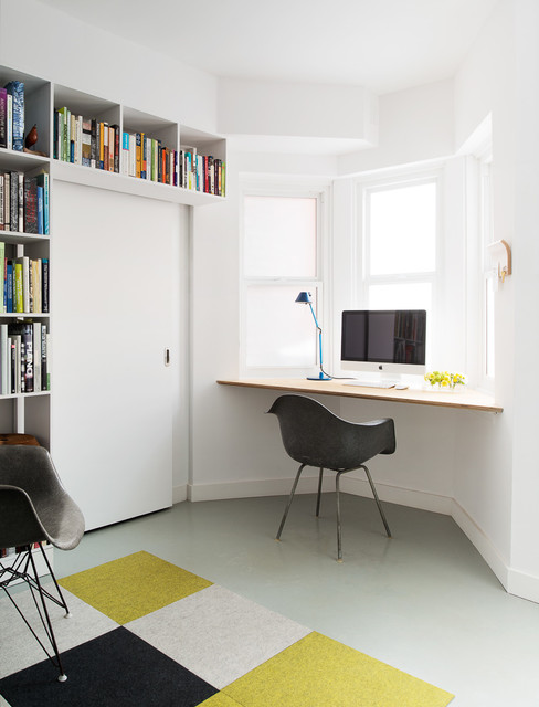 Plastic Grommets Home Office Contemporary with Bay Window Black Armchair