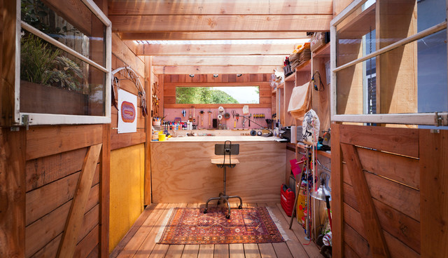 Plastic Pegboard Garage and Shed Contemporary with Industrial Barstool Tool Shed