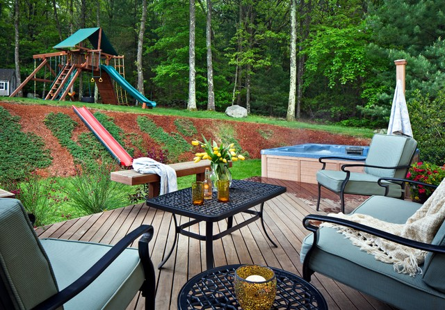 Playset Slides Deck Traditional with Blue Outdoor Cushions Deck