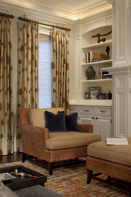 Pleated Drapes Bedroom Contemporary with Accent Chair Area Rug