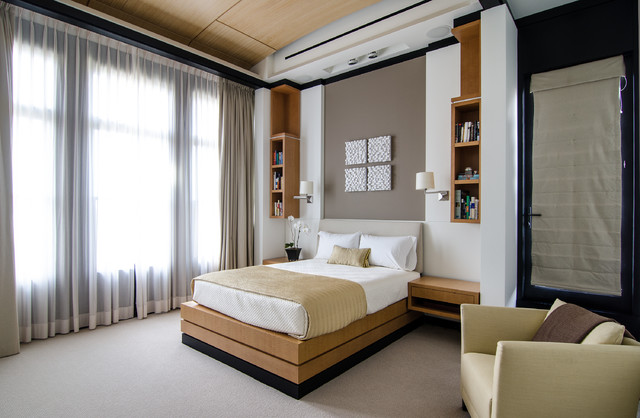 Pleated Drapes Bedroom Contemporary with Beige Drapes Built in Bookcases