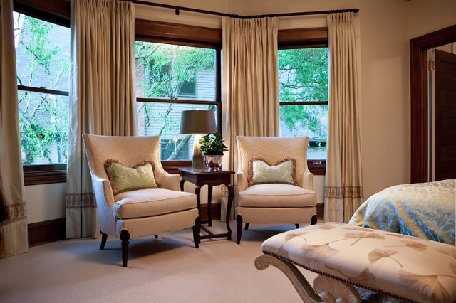 Pleated Drapes Bedroom Traditional with Bay Window Bench Curtains