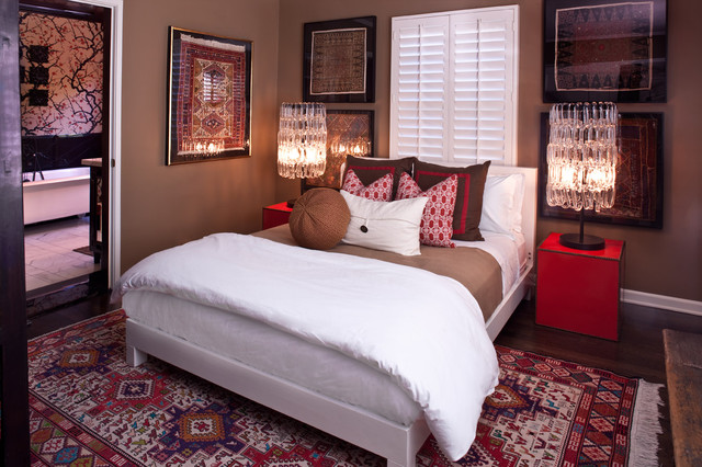 Pleated Drapes Bedroom Transitional with Accent Pillows Brown Chandelier