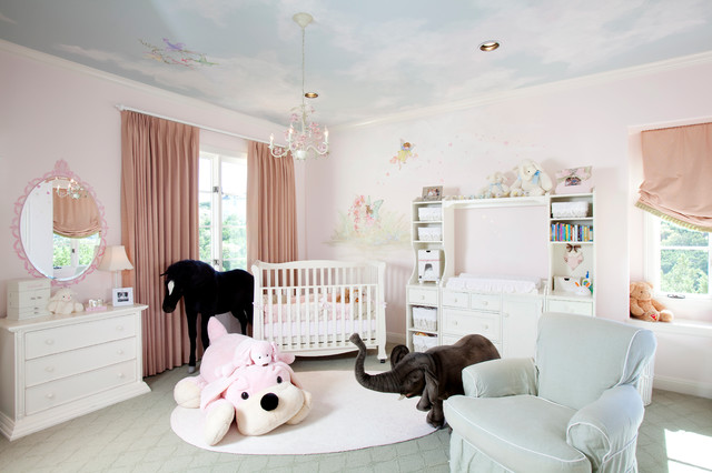 Pleated Drapes Nursery Traditional with Blue Sky Ceiling Ceiling