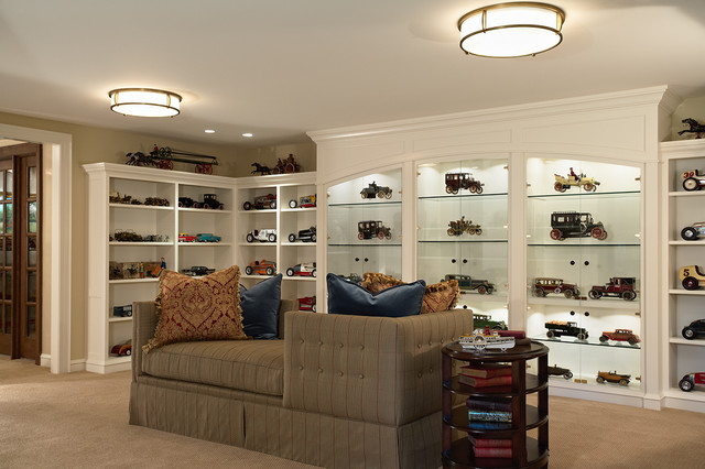 Plexiglass Display Case Basement Traditional with Arch Brown Chaise Lounge