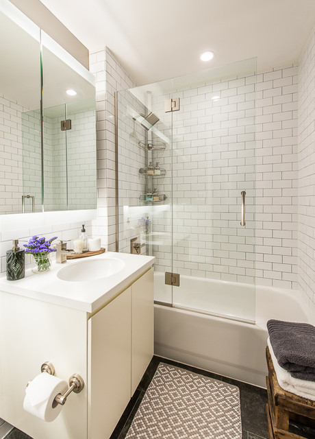 Polyblend Grout Bathroom Eclectic with Glass Shower Gray Grout