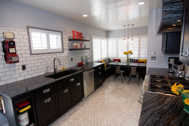Polyblend Grout Kitchen Traditional with Antique Phone Black Cabinets