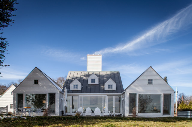 polywood furniture Exterior Farmhouse with Adirondack chairs dormers french