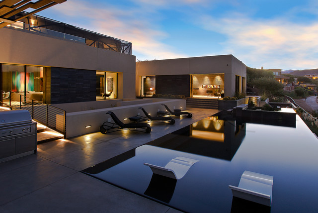 Pool Lounger Pool Contemporary with Covered Grill Desert Desert