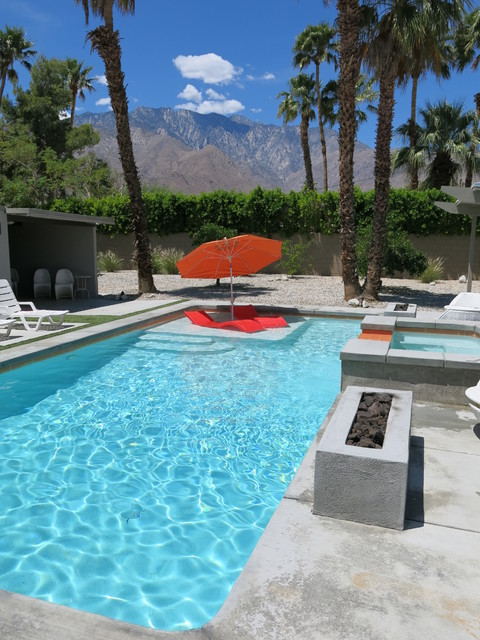 Pool Lounger Pool Midcentury with Chaise Lounge Colorful Patio