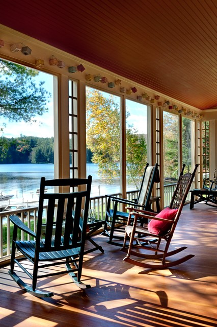 Porch Rockers Porch Rustic with Beadboard Ceiling Lake House
