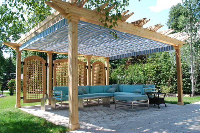 Pottery Barn Patio Furniture Patio Traditional with Awning Backyard Blue Canopy
