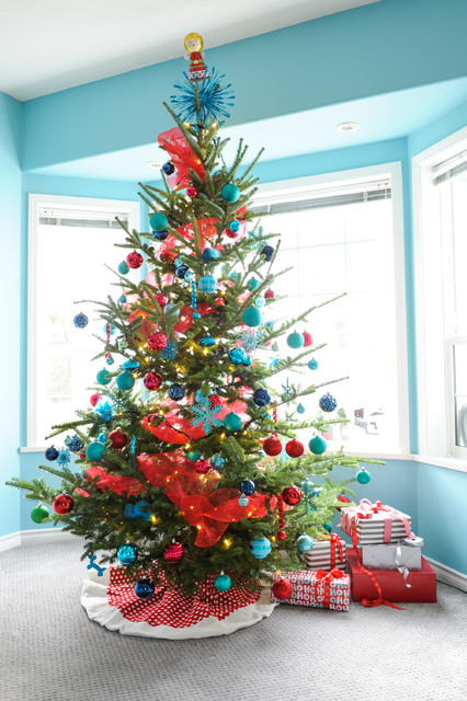Pre Lit Christmas Garland Family Room Traditional with Bay Window Blue Ornaments