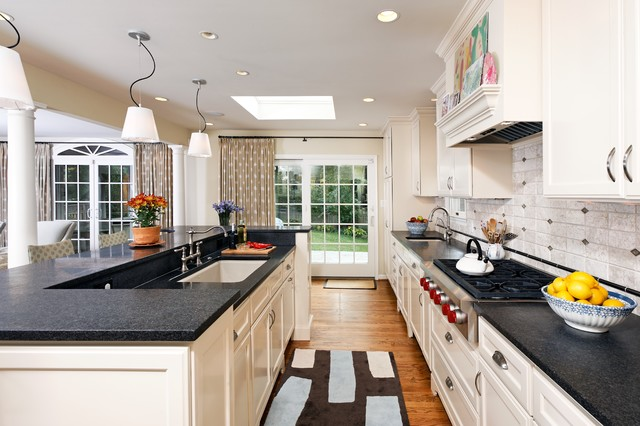 Prefab Granite Kitchen Contemporary with Accent Tiles Breakfast Bar