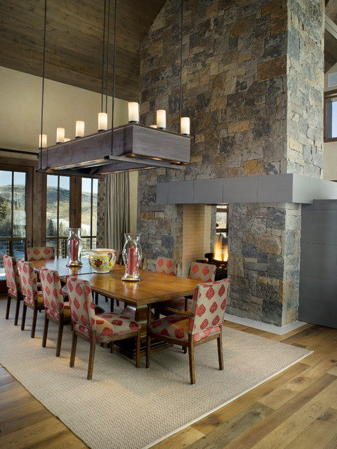 Prefab Homes Colorado Dining Room Rustic with Beige Rug Candles Cathedral