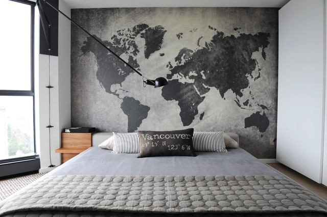 Prepasted Wallpaper Bedroom Contemporary with Arm Wall Sconce Floor to Ceiling