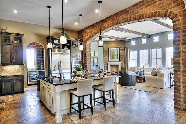 Propane Cooktop Kitchen Traditional with Adobe Brick Adobe Thin
