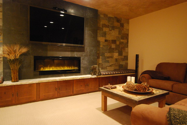 Queen Electric Blanket Basement Contemporary with Electric Fireplace Game Room