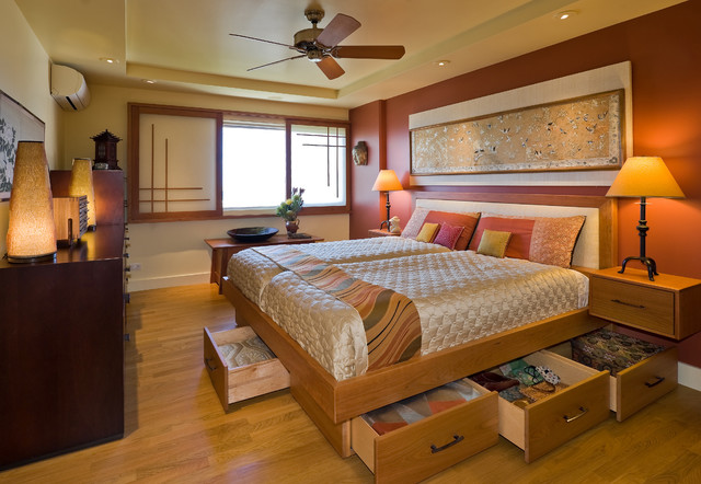 queen size bed frame with drawers Bedroom Asian with Asian asian print Asian