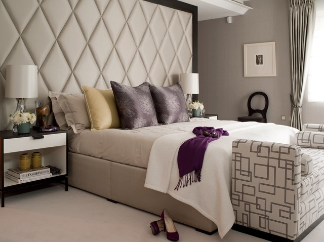 Queen Upholstered Headboard Bedroom Transitional with Bed Scarf Beige Bed